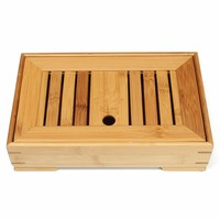 1PC Natural Wooden Tea Tray Chinese Traditional Bamboo Tea Table Rectangular Tea Tray Drainage Storage Water
