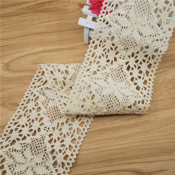 FASMILEY Wholesale 83mm Beautiful Cotton Lace Trim Ivory Net Flower Lace Ribbon DIY Lace Fabric Trimmings Applique 20yards LC131 фото