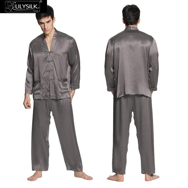 Lilysilk Pajamas Set Masculino Pyjamas Men Japanese Sexy Sleepwear Grey Male Brand Clothing Modern Suits Long Sleeve Warm Winter