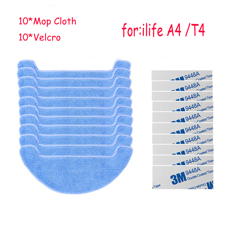 10*Mop Cloth+10*magic paste for ILIFE A4 Robot Vacuum Cleaner Parts chuwi ilife a4 T4
