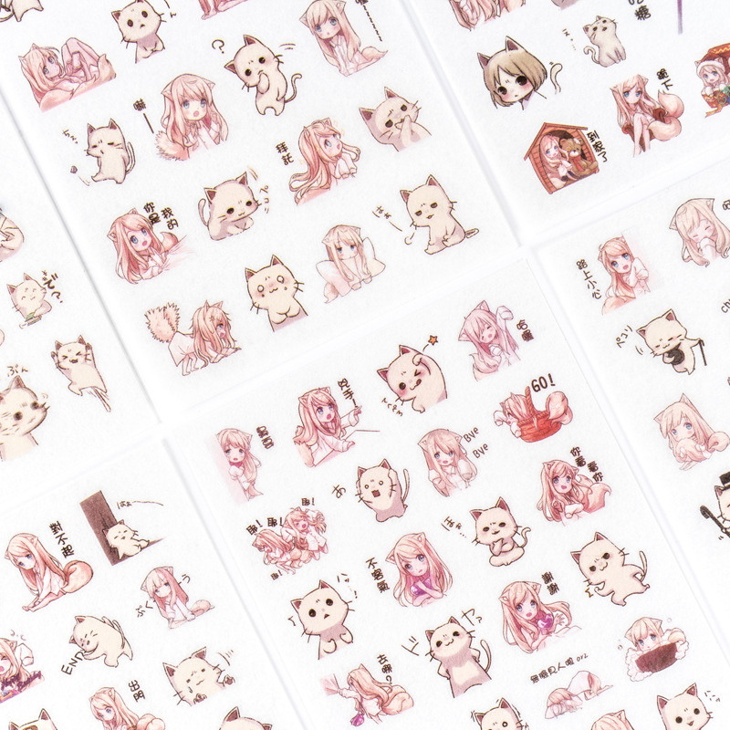 6pcs/pack Pink Cat Girl Decorative Adhesive Stickers Label Diary Stationery Diy Album Sticker For Scrapbooking, Calendars, Arts