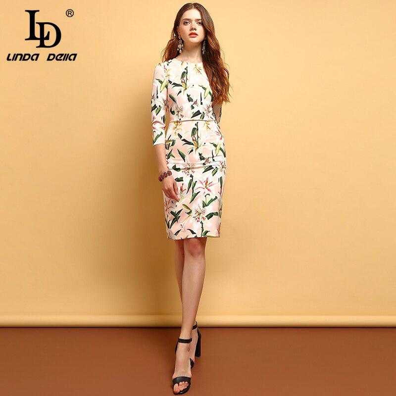 Ld linda della 패션 여름 드레스 여성의 우아한 백합 꽃 인쇄 수집 허리 빈티지 휴가 숙녀 라인 드레스-에서드레스부터 여성 의류 의  그룹 2