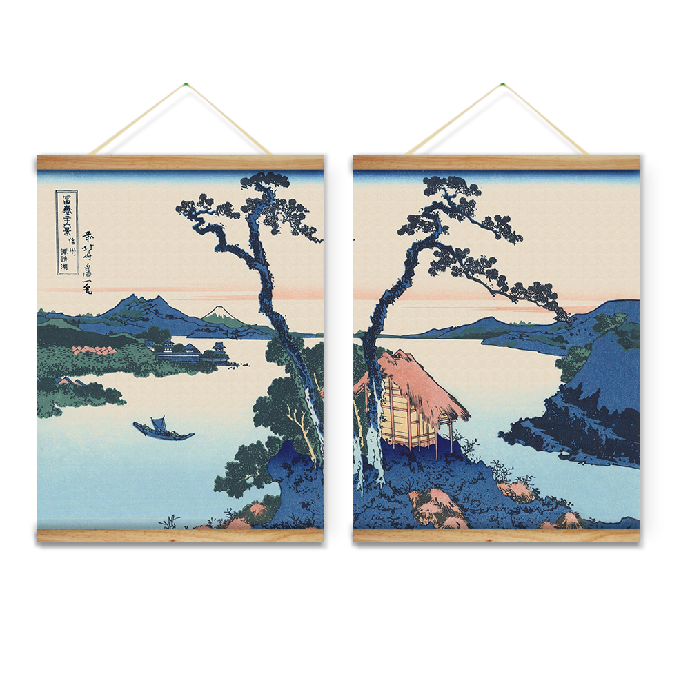 Wooden Scroll Wall Art 2 Pieces Japanese Style Lake Landscape Trees Decoration Wall Art
