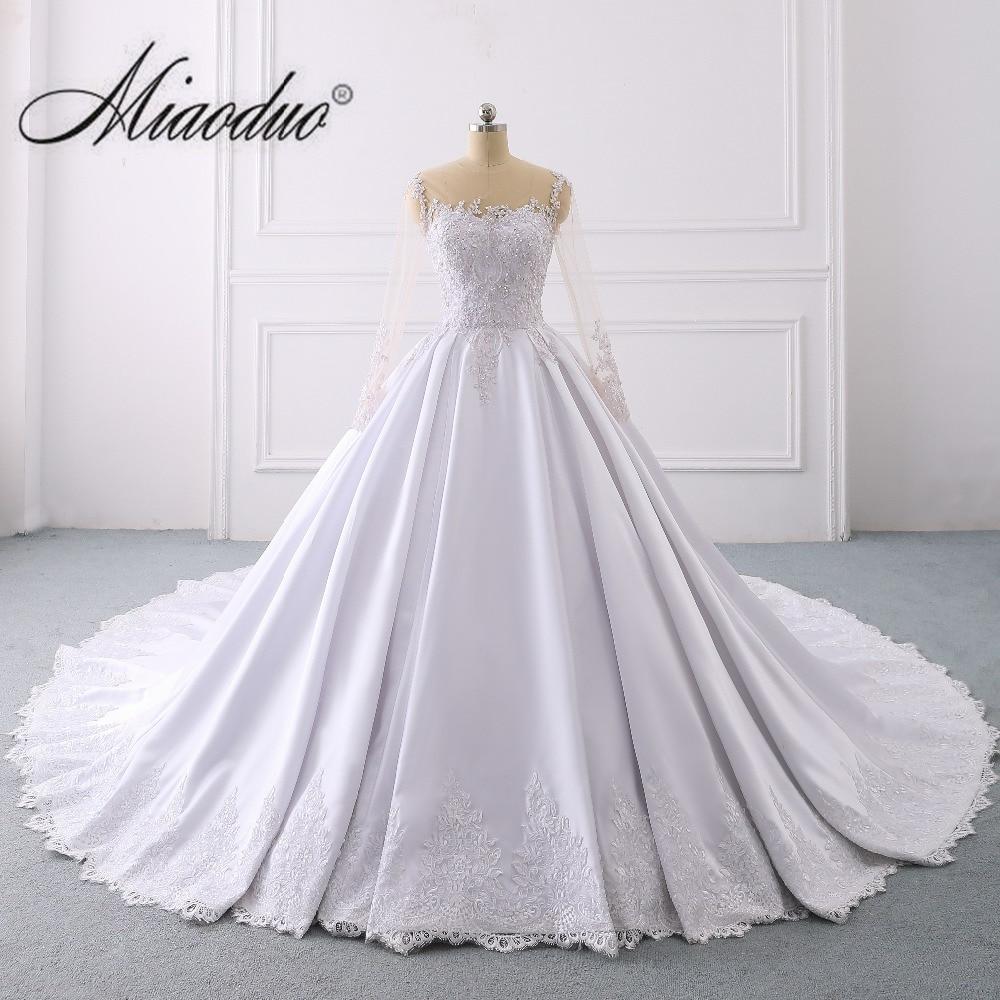 Simple Long Sleeves Satin Wedding Dress 2019 weddingdress O Neck Cathedral Royal Train vestidos de novia