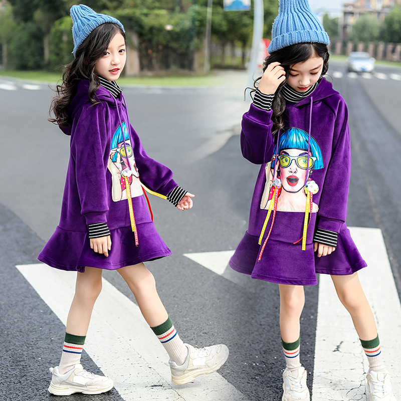 Winter Dress Christmas Dress Toddler Girl Clothing 2018 New Fashion Print Hooded Long Sleeve Warm Casual Dress 4 5 6 7 8 9 10 11 cat print hooded dress