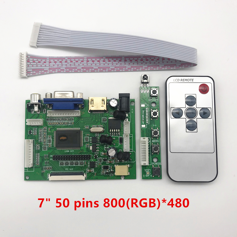 skylarpu <font><b>LCD</b></font> TTL LVDS Controller Board HDMI VGA 2AV <font><b>50</b></font> <font><b>PIN</b></font> for AT070TN90 92 94 Support Automatically Raspberry Pi Driver Board image