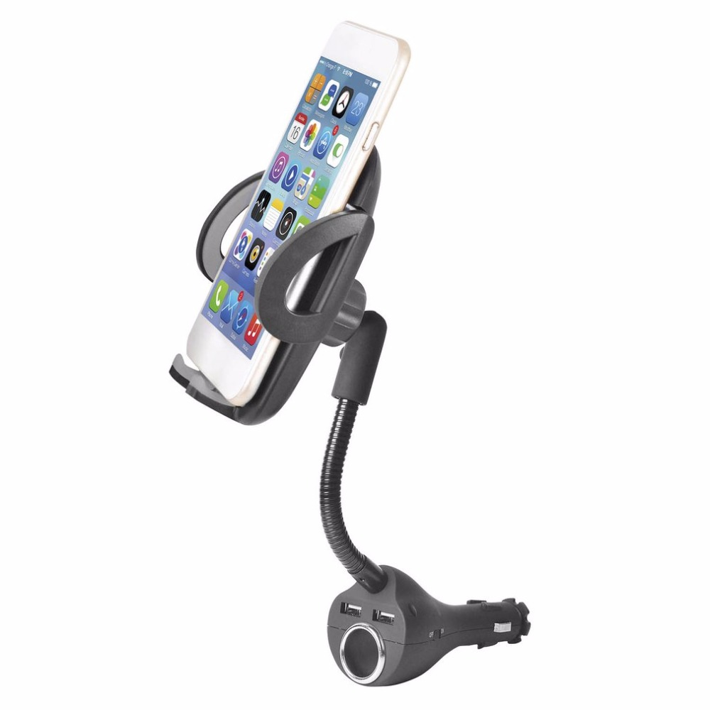Universal Car Phone Holder Dual USB Charging Mount Stand with 360 Degree Rotation Car Cigarette Lighter