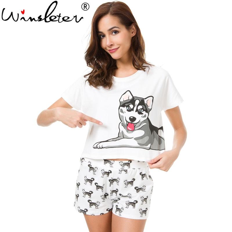 ffe49f39 Husky Print Women Pajama Sets 2 Pieces Set Crop Top + Shorts Loose Elastic  Waist Shorts