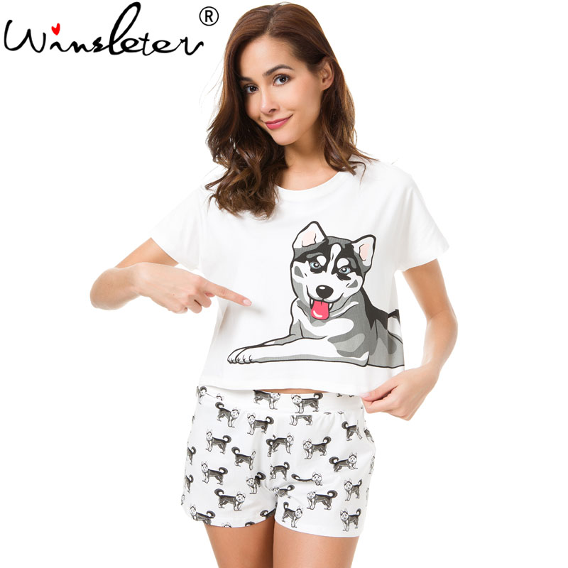 Husky Print Women   Pajama     Sets   2 Pieces   Set   Crop Top + Shorts Loose Elastic Waist Shorts Dog Print Lounge pijama mujer S73104