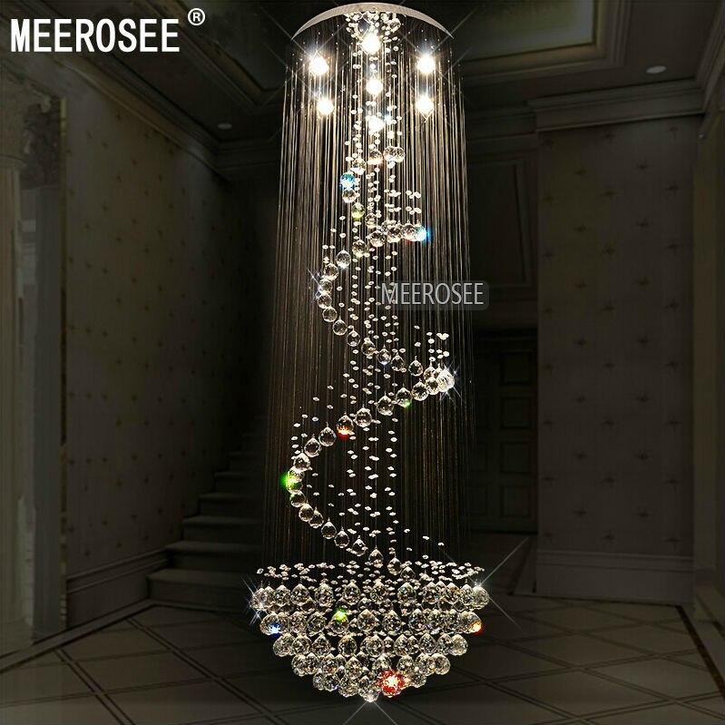 Long Ceiling Light Fixture: Long Size Crystal Chandelier Light Fixture Modern lustre de cristal light  for Lobby staircase Spiral Crystal,Lighting