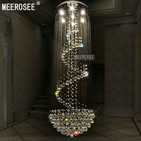 Modern Long Size Crystal Chandelier Light Fixture For Lobby Staircase Stairs Foyer Long Crystal Stair Lighting