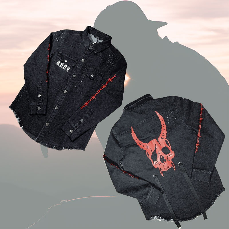 2019 Spring Summer Top Quality Jean Jacket Men Polyester Fiber Personality Printing Jeans Men Women Cowboy Fashion Leisure Suit
