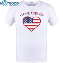 I Love america USA Print Summer Cool Mens Design T Shirt Short Sleeve White tops Brand New 2017 Funny T-shirts Plus Size Tee 6XL