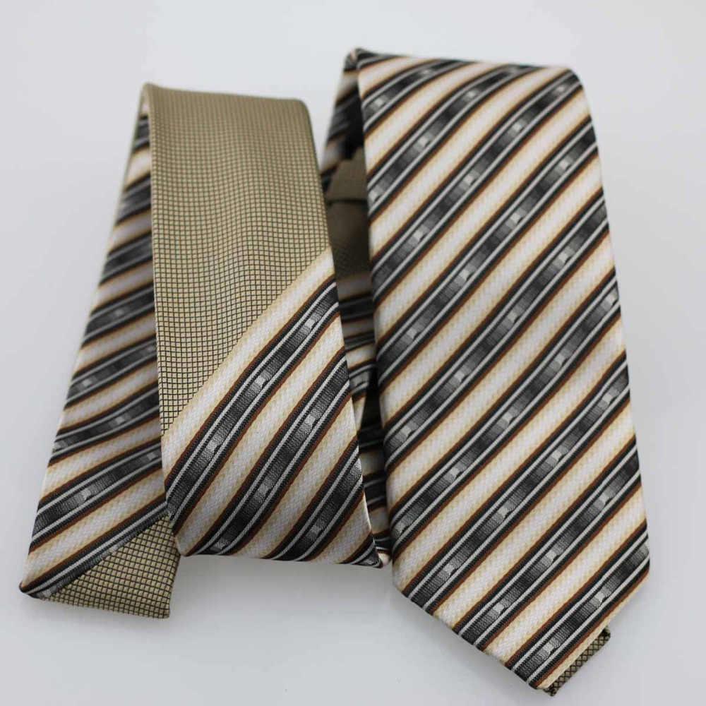 YIBEI COACHELLA ties Coffee Knot Kontras Beige Hitam Abu-abu Stripes Dasi Skinny Tie 7 cm Bisnis Kemeja Ikatan Dasi Handmade