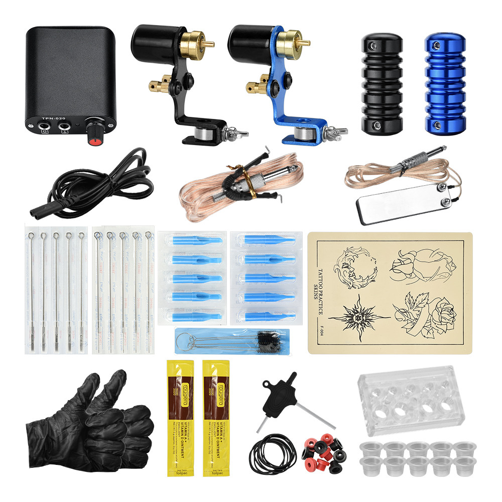 Complete Tattoo Kit 2 Machine Gun Professional Eyebrow Tattoo Machine Rotary Tattoo Machine Power Supply
