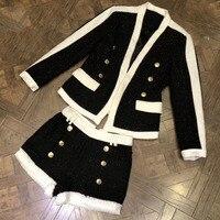 Комплект из 2 предметов женские комплект со штанами 2018 куртка с длинным рукавом и Шорты костюмы комплект высокого качества