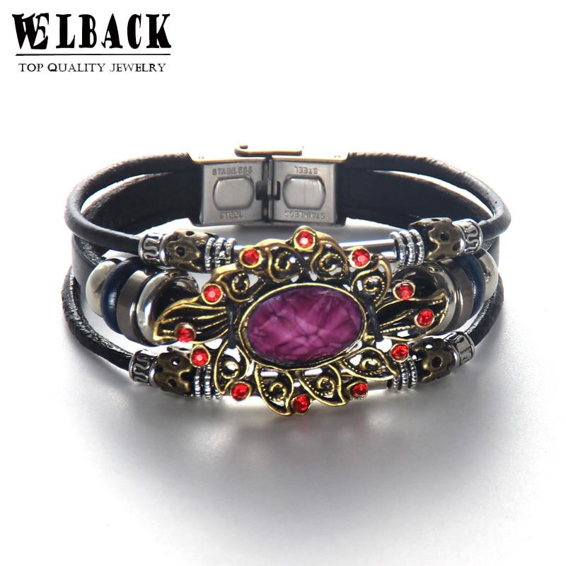 Welback Fashion Jewelry Retro Alloy Flower Rhinestone Crystal Multilayer Mechanical Sense Punk Style Leather Bracelets&Bangles