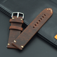 Men S Retro Genuine Leather 18 19 20 21 22mm Excellent Watch Band Strap For Seiko