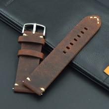 Купить с кэшбэком Men's Retro Genuine Leather 18 19 20 21 22mm excellent Watch Band Strap For Seiko for Tissot Hours Male Female Belt Bracelet