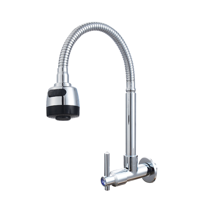 JOOE chrome kitchen faucet Pull Down Wall Mounted hot and cold water tap 360 degree rotation mixer sink tap torneiras de parede kitchen chrome plated brass faucet single handle pull out pull down sink mixer hot and cold tap modern design