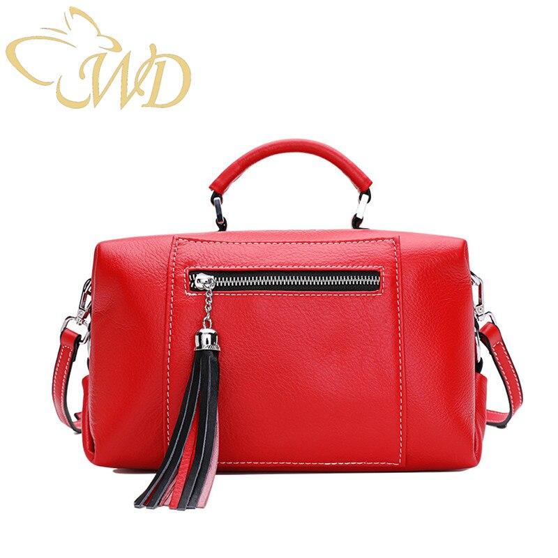 The First Layer of Leather Boston Bag Female Messenger Bag Leather Handbag Tassel Shoulder Bag strap removable personality purse
