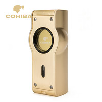 Gadgets Watch Style Zinc Alloy Pattern Laser Touch Induction 4 Torch Jet Golden&Silvery Cigar Lighter W/ Gift box