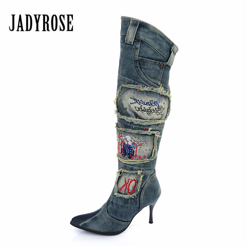 JADY ROSE Side Zipper Denim Boots Thin High Heel Pointed Toe Women Knee High Boots Winter Warm Jeans Long Boot Shoes Woman women faux suede side zipper sexy thin high heel thigh boots fashion pointed toe winter shoes black g