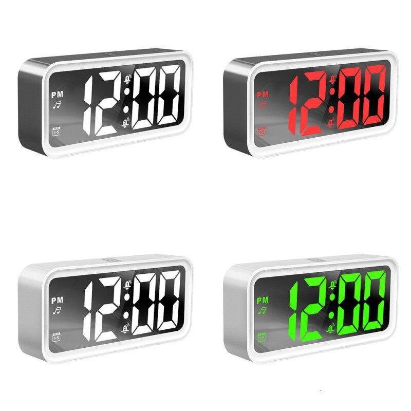 Светодиодный домашний будильник, цифровой Настольный гаджет для спальни, цифровой USB заряжаемый цифровой дисплей, Серебристые часы, очень т