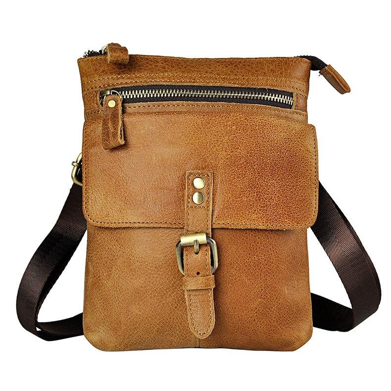New Fashion Genuine Leather Men Waist Bag Portable Phone Camera 8 Inch Small Shoulder Package Bag Waist Package aerlis men women canvas retro 6inch phone portable small waist bag