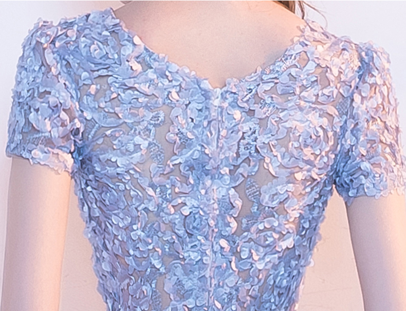 YIDINGZS Elegant Gray Lace Prom Dress Simple Short Party Formal Gown 13