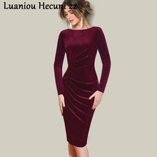 Chu Ni бархатное платье для женщин, весна-осень, элегантное, для работы, офиса, бодикон, платье-карандаш, винтажные черные платья, Vestidos размера плюс, L088
