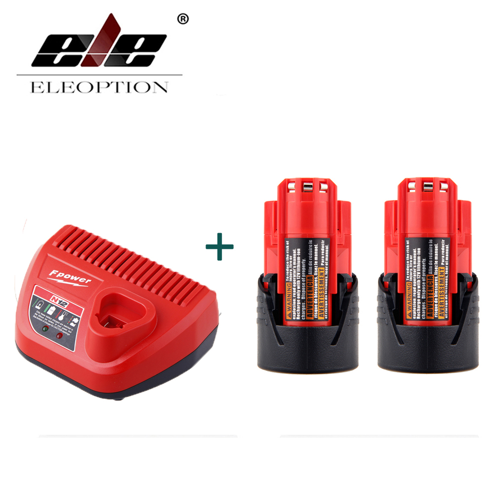 2PCS Power Tool Battery For Milwaukee M12 48-11-2401 2510-20 48-59-1812 12V 2000mAh Li-ion Rechargeable Battery + Charger