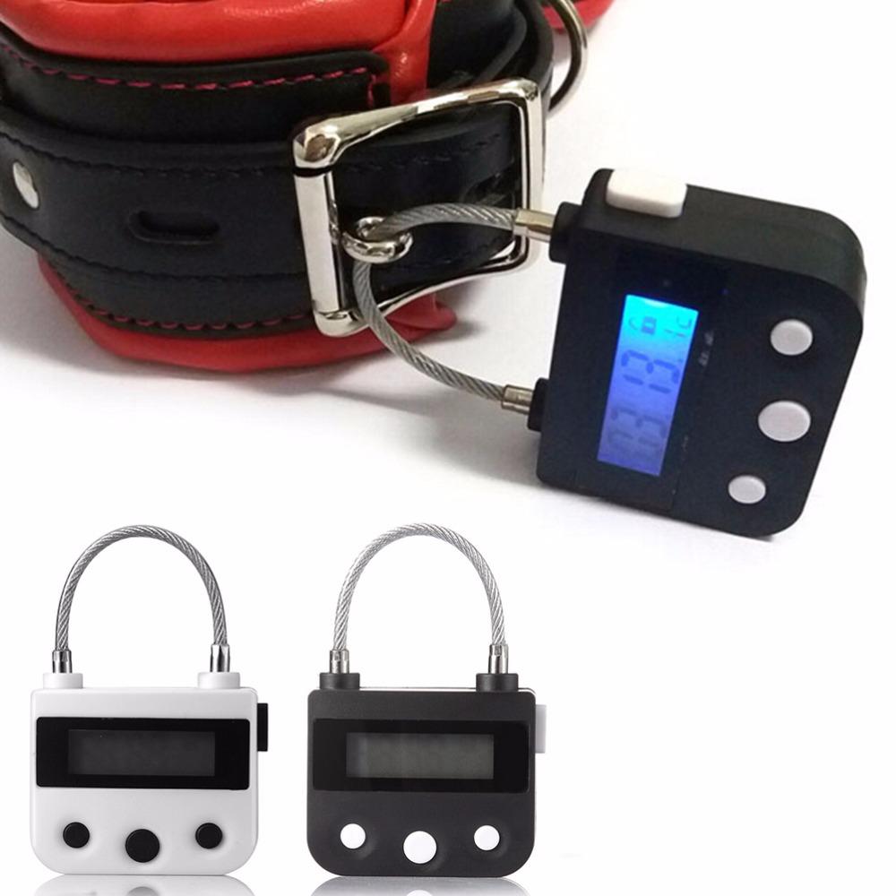 1Pcs Time Lock Fetish Handcuffs Mouth Gag Electronic Timer Bdsm Bondage Restraints Chastity Couples Toys Adult Game Bondage Lock