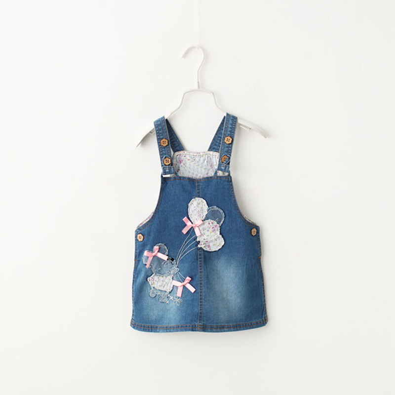New Arrival Girls Denim Sundress Girls  balloon patch embroidery Sundress Kids Suspender Denim dress Child Casual Sundress shuzhi summer baby girls dress denim sundress girls suspender denim dresses kids cute rabbit embroidery sundress
