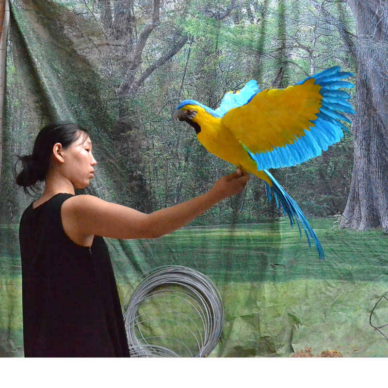 large 65x100cm blue yellow feathers parrot model foam feathers spreading wings bird handicraft garden decoration gift
