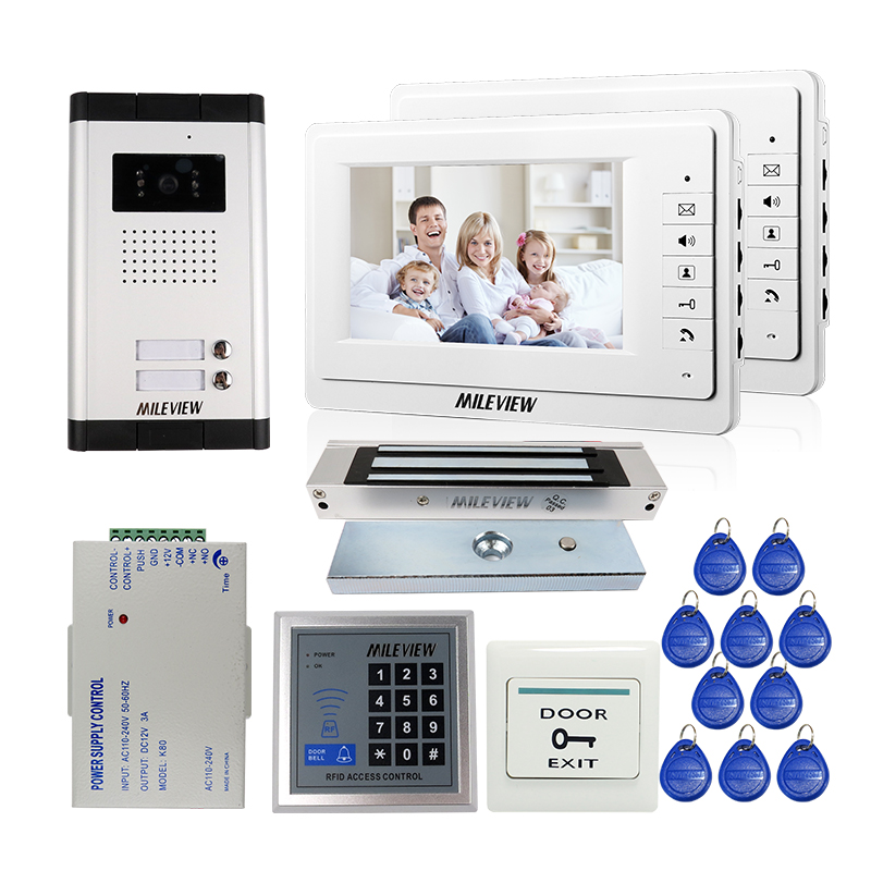 FREE SHIPPING 7 Video Intercom Apartment Door Phone 2 White Monitors Outdoor Camera for 2 Family Magnetic Lock RFID Access Kit