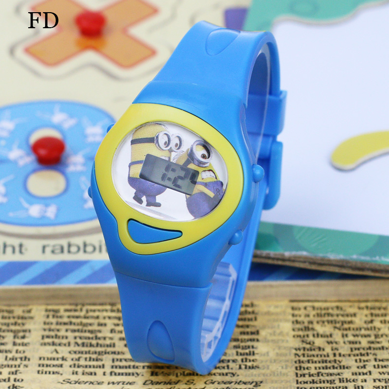 FD 2018 Fashion Cartoon Pattern Girls Barn Sport Watch Gummi Rem Digital Armbandsur för Pojkar Kids Casual Students Clock