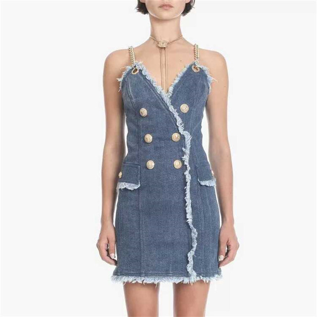 3043ea04bb9 2018 Sexy Denim Mini Dress Women Bodycon Metal Chain Spaghetti Strap Lion  Buttons Dresses Female Summer Runway Designer Clothing