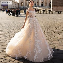 VNXIFM 2019 New Beach Country Lace Appliques A Line Wedding Dresses Sheer Scoop Neck Tulle Long Bridal Gowns