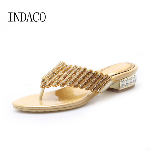 701712607 Genuine Leather Flip Flops Low Heel Silver Rhinestone Shoes Thick Heel Gold  Summer Slippers Plus Size 12 Women Sandals