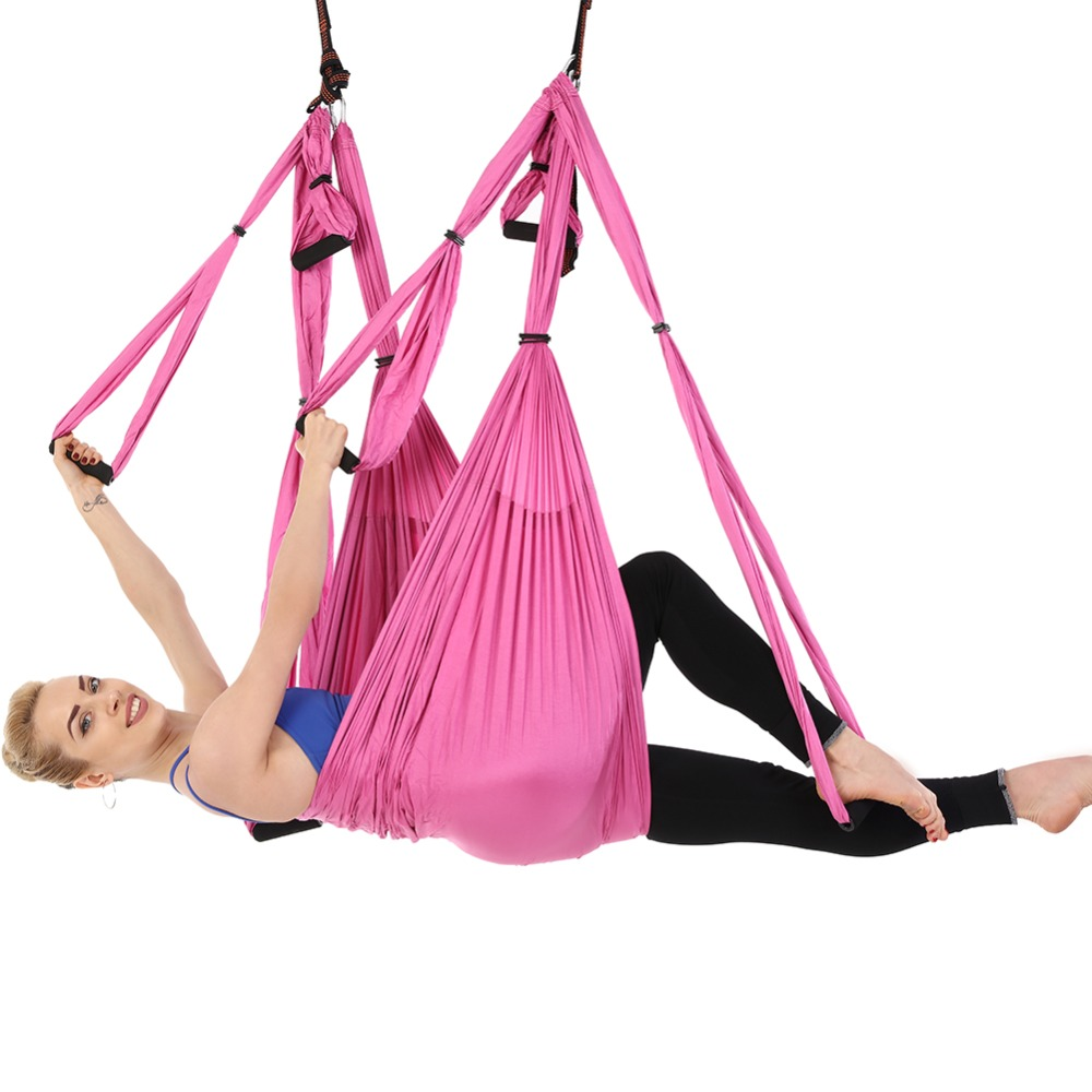 2.5*1.5m Aerial Yoga Hammock 6 Handles Strap Pilates Home Gym Hanging Belt Swing Trapeze Anti-Gravity Aerial Traction Device