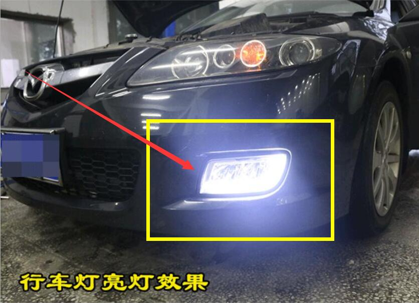 car bumper lamp For <font><b>Mazda</b></font> <font><b>6</b></font> Mazda6 fog <font><b>light</b></font> 2006 2007 2008 2009 2010 car accessories <font><b>LED</b></font> DRL Daytime Running <font><b>Light</b></font> Daylight image