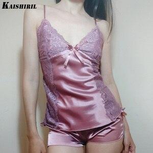 Image 2 - Ladies Sexy Silk Satin Pajama Set Lace Pyjama Women Sleeveless Pijama Set V neck Sleepwear Summer Home Wear Sleep Wear For Women
