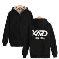 Hàn quốc co-ed nhóm K.A.R.D Hoodies Với Dây Kéo Hat K-Pop Moombahton EDM KARD SOMIN Thời Trang Dày Ấm trùm đầu Áo Zip-Up