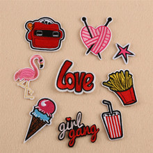 Red Color Food Animal Repair Badge Patch Embroidered Patches For Clothing Iron On For Close Shoes Bags Badges Embroidery DIY бра lumion kayden 3664 1w хром e14 60w 220v