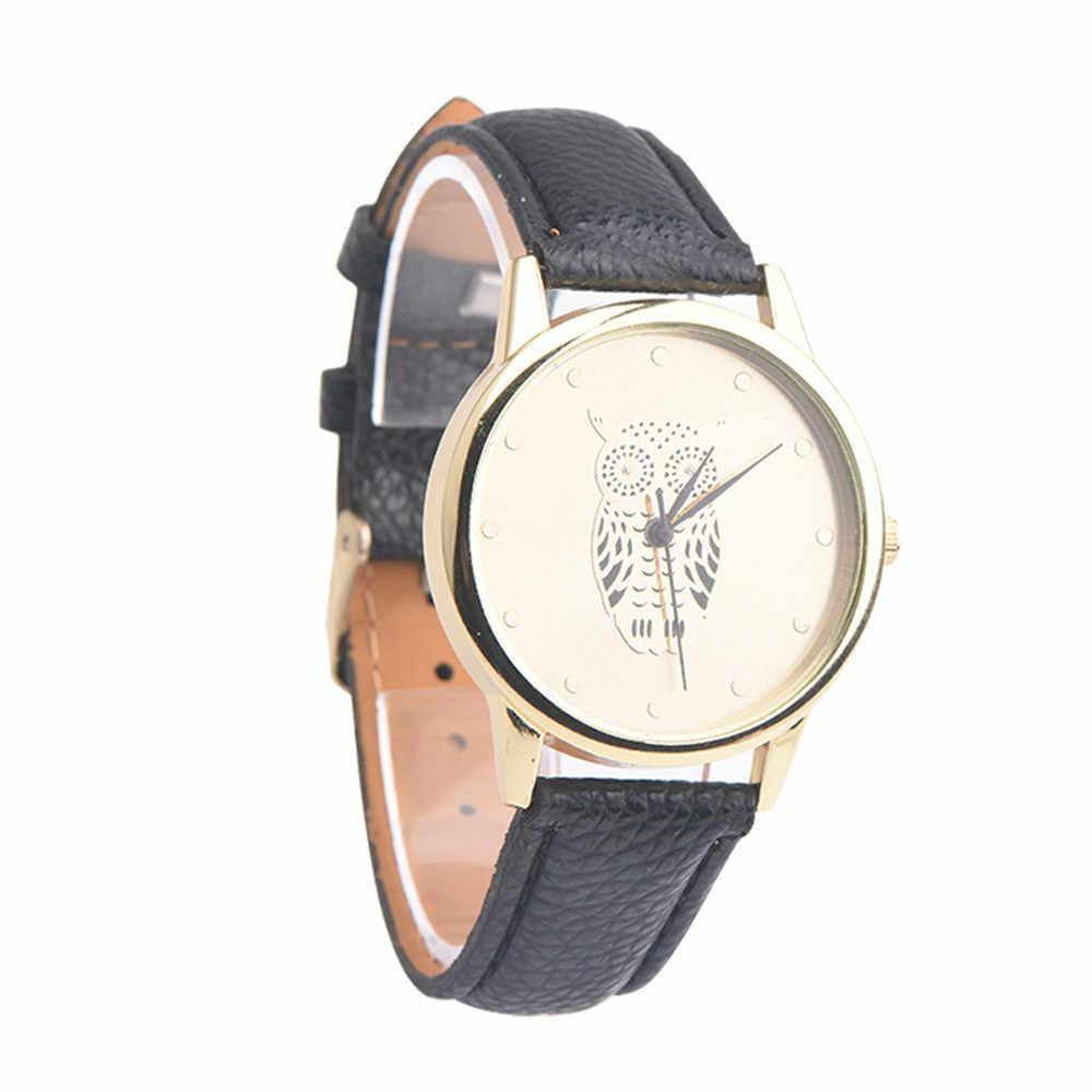 2018 חדש אופנה ינשוף חיוג נשים שעוני יוקרה רצועת עור גבירותיי שעון נשים שמלה שעון מעורר נשי relogio feminino P30