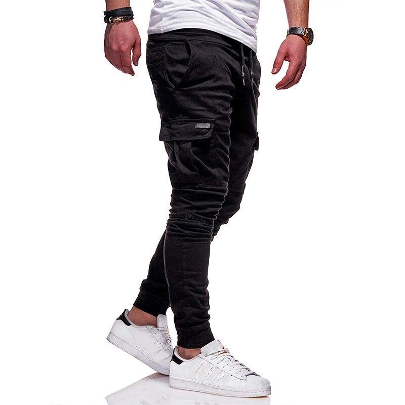 Men New Side Pockets Pencil Pants Joggers Vogue Man Casaul Long Pants Ankle-Tied Cargo Pants Sportswear Daily Wear Harem Pants