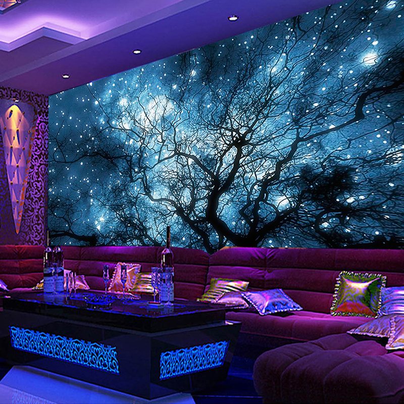 Custom 3D Photo Wallpaper Modern Abstract Art Blue Starry Sky Trees Living Room TV Background Wall Decoration Mural Home Decor custom photo wallpaper 3d stereoscopic cave seascape sunrise tv background modern mural wallpaper living room bedroom wall art