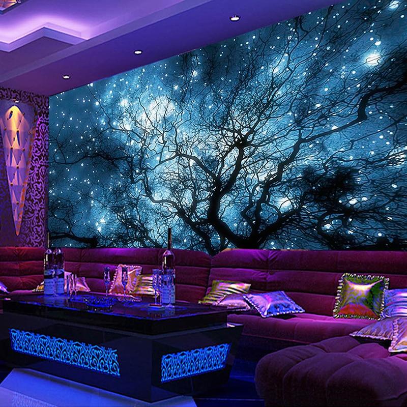 Custom 3D Photo Wallpaper Modern Abstract Art Blue Starry Sky Trees Living Room TV Background Wall Decoration Mural Home Decor