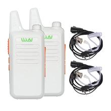 2PCS Mini Walkie Talkie WLN KD-C1 White Color UHF 400-470MHz Two Way Radio Portable CB Ham Communicator Radio With Headsets